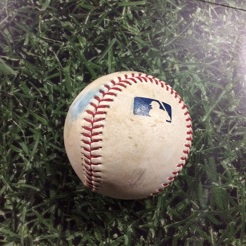 Photo of Game-Used Baseball MIA@MIL  07/01/17 -  Vance Worley - Zach Davies: Double