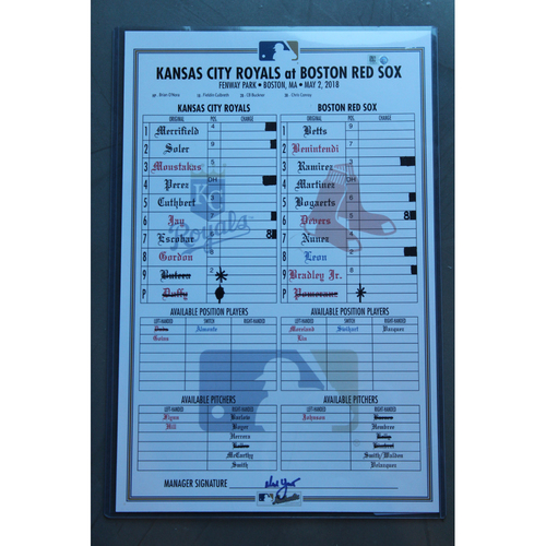 Photo of Game-Used Line-Up Card: (KC at BOS - 5/2/2018)