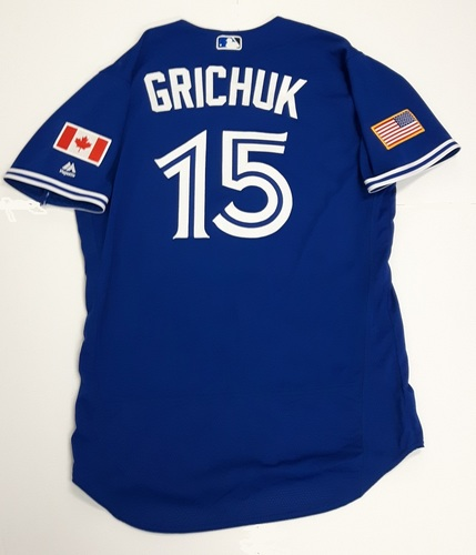 Photo of Authenticated Game Used 2018 Independence Day Jersey (July 4, 2018) - #15 Randal Grichuk: 0-for-4. Size 44.