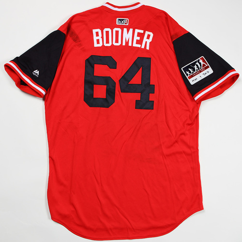 """Photo of Spencer """"Boomer"""" Kieboom Washington Nationals Game-Used Jersey 2018 Players' Weekend Jersey"""