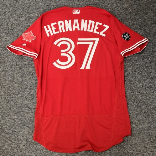 Photo of Authenticated Team Issued 2018 Canada Day Jersey - #37 Teoscar Hernandez. Size 46.