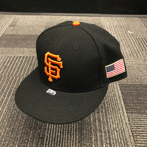 Photo of 2017 Game Used Cap with 9/11 Flag Patch worn by #12 Joe Panik - Size 7 1/4