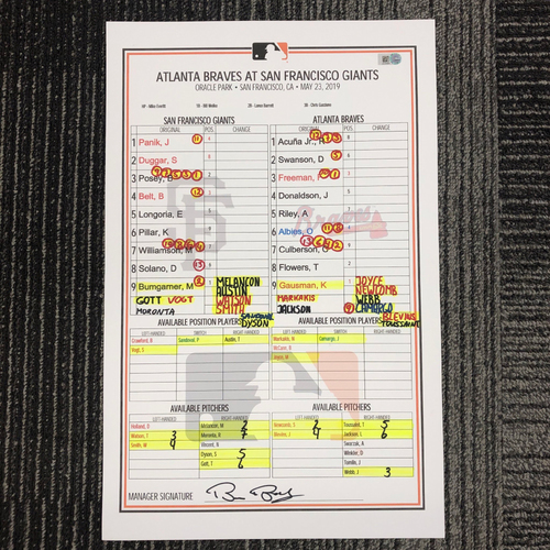 Photo of 2019 Game Used Line Up Card - SF vs ATL - May 23, 2019 - Ronald Acuna Jr. & Freddie Freeman vs. Madison Bumgarner & Will Smith