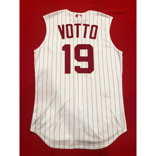 Photo of Joey Votto -- Game-Used 1995 Throwback Jersey (Starting 1B: Went 2-for-4, R) -- D-backs vs. Reds on Sept. 8, 2019 -- Jersey Size 44