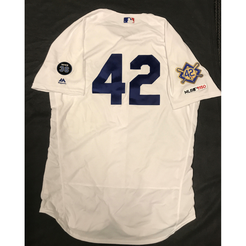 Photo of 2019 Game Used Home #42 Jersey worn by #68 Pitcher Ross Stripling on 4/15 Jackie Robinson Day against Cin. Dodgers 4-3 victory against Cincinnati. Size- 46