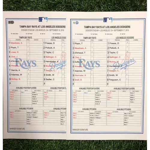 Photo of Replica LineUp Cards: September 17-18, 2019 at LAD