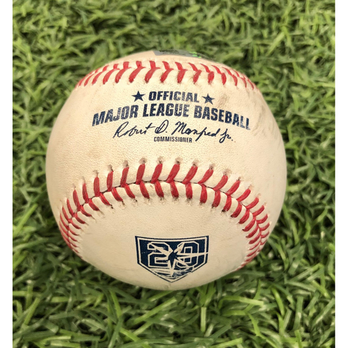 Photo of 20th Anniversary Game Used Baseball: Nick Ciuffo double off Corey Kluber - September 10, 2018 v CLE