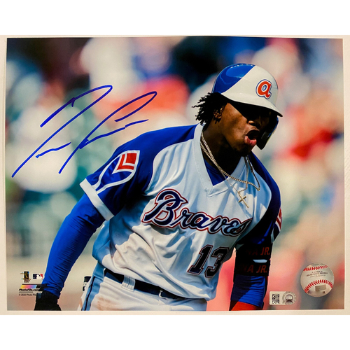 Photo of Ronald Acuna, Jr. Autographed Photo with Throwback Uniform