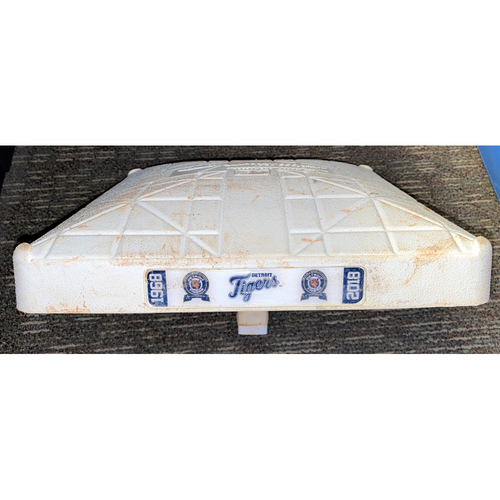 Detroit Tigers Game-Used Base with 1968 World Series Champions 50th Anniversary Base Jewels (MLB AUTHENTICATED)