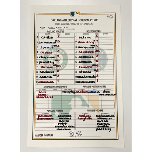 Photo of Game-Used A's Dugout Lineup Card: 4/9/21 @ Houston Astros (McCullers vs Manaea)