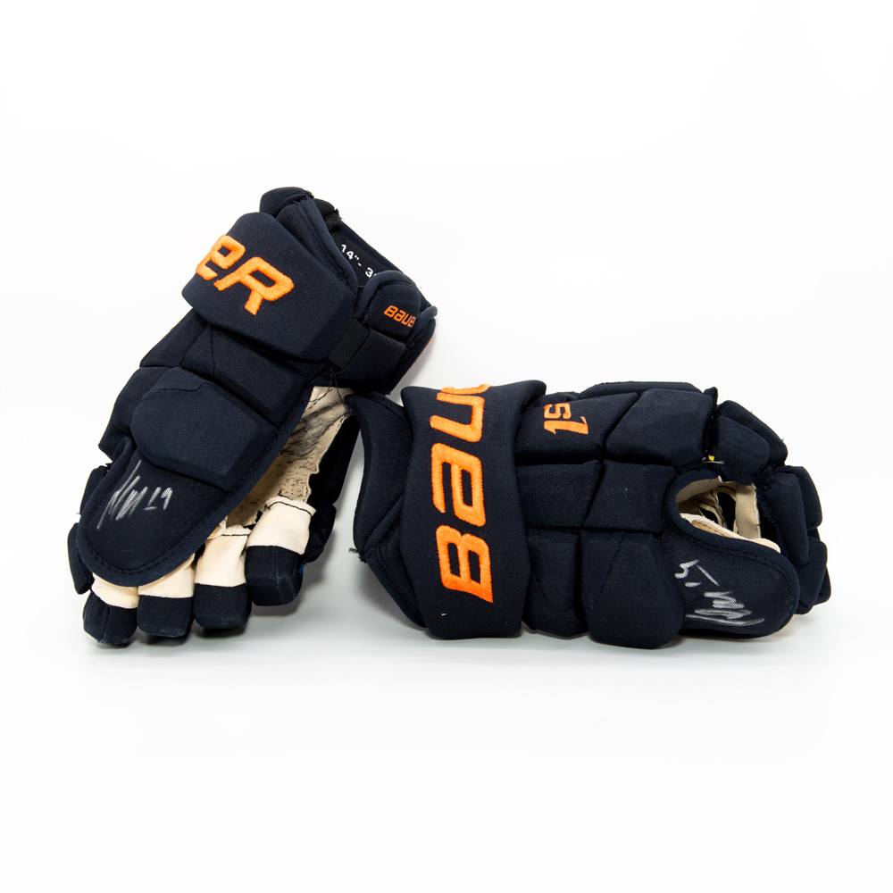 Patrick Maroon #19 - Autographed 2017-18 Edmonton Oilers Game-Worn Bauer Supreme 1S Hockey Gloves Worn During Training Camp And Pre-season