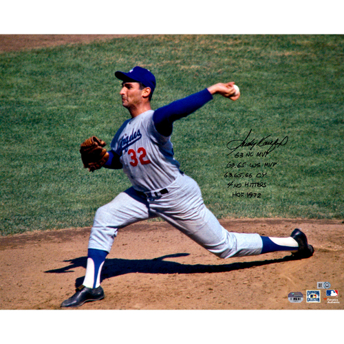 "Photo of Sandy Koufax Los Angeles Dodgers Autographed 16"" x 20"" Photo with Multiple Inscriptions - #18 of L.E. of 18"