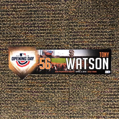 Photo of San Francisco Giants - 2018 Home Opening Day Locker Tag - #56 Tony Watson