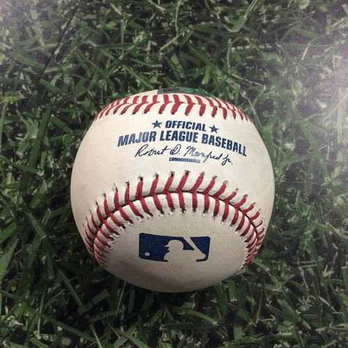 Photo of Game-Used Baseball PIT@MIL  09/22/16 - Chase Anderson - Andrew McCutchen: Single