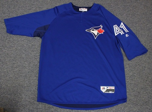 Photo of Authenticated Team Issued Batting Practice Jersey - #41 Aaron Sanchez. Size XL.
