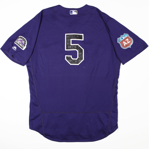 Photo of 2016  Spring Training -  Game-Used Jersey - Carlos Gonzalez (Rockies) - Size 48