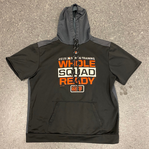 Photo of 2019 Team Issued Spring Training On-Field Hoody - Short-Sleeved - worn by #40 Madison Bumgarner - size XL