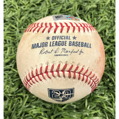 Photo of 20th Anniversary Game Used Baseball: Ryne Stanek strikes out Aaron Judge - September 26, 2018 v NYY