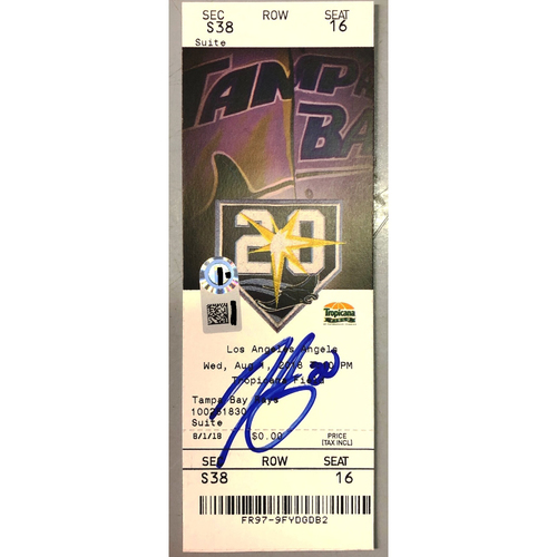 Photo of Rays Baseball Foundation: Tyler Glasnow Autographed Rays Debut Game Ticket - August 1, 2018 v LAA