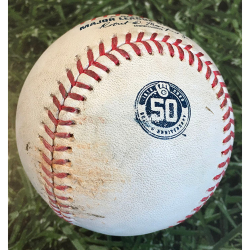 Photo of Game-Used Baseball MIN@MIL 08/12/20 - Kenta Maeda - Ryan Braun: Ball