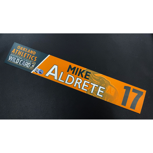 Photo of Game-Used 2020 AL Wild Card Locker Nameplate - Mike Aldrete