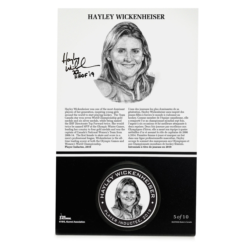 Hayley Wickenheiser Autographed Legends Line Honoured Member Puck Stand - Limited Edition 9/10