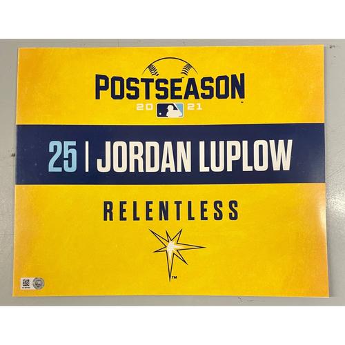 Photo of Game Used ALDS Locker Tag: Jordan Luplow - Game 1 & 2 - October 7-8, 2021 v BOS