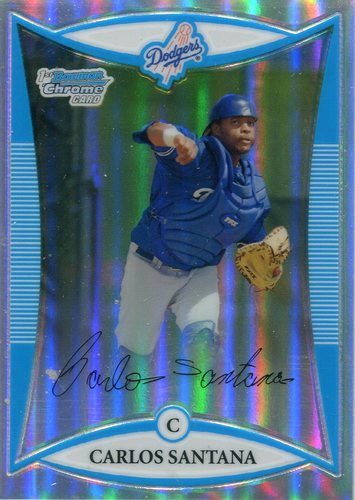 Photo of 2008 Bowman Chrome Prospects Refractors  Carlos Santana 98/500