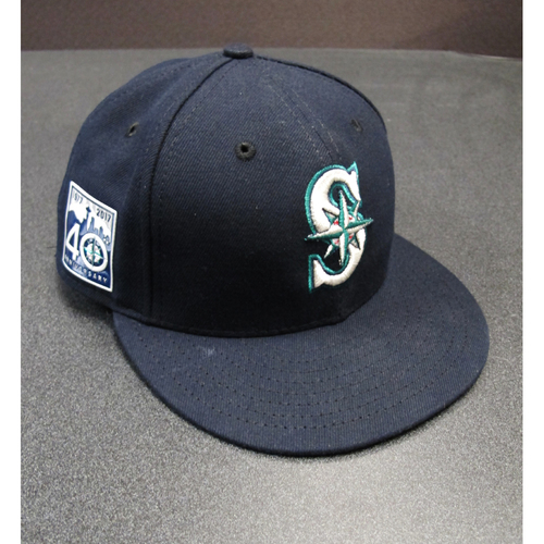 Photo of Felix Hernandez Team-Issued Navy Cap With The 40th Anniversary Patch DET at SEA 6-19-2017. Cap Size - 7 1-4