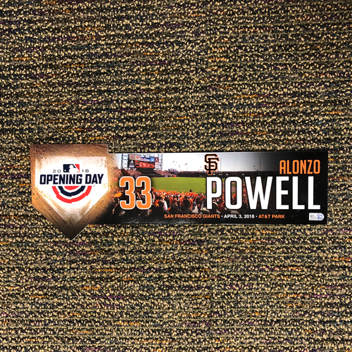 Photo of San Francisco Giants - 2018 Home Opening Day Locker Tag - #33 Alonzo Powell