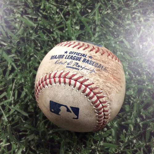 Photo of Game-Used Baseball PHI@MIL  04/22/16 - Zach Davies - Freddy Galvis: Triple