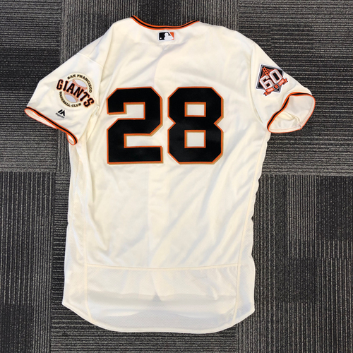 Photo of 2018 Game Used Home Cream Jersey worn by #28 Buster Posey on 4/3 vs. Seattle Mariners - 2018 Home Opener - Size 46