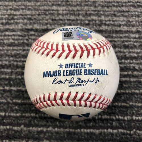 Photo of 2019 Game Used Baseball - SF vs NYY - April 28, 2019 - T-3: Dereck Rodriguez to Gary Sanchez - Walk. Also pitch in dirt to Gleyber Torres