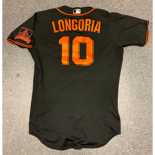 Photo of 2020 Game Used Spring Training Jersey worn by #10 Evan Longoria on 2/22 vs Los Angeles Dodgers - Size 42