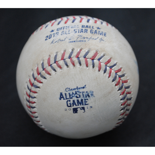 Photo of 2019 All-Star Game (7/9/2019) - Game-Used Baseball - Top 7 - Batter - J.T. Realmuto (Philadelphia Phillies), Pitcher - Shane Greene (Detroit Tigers) - 7 - Popout