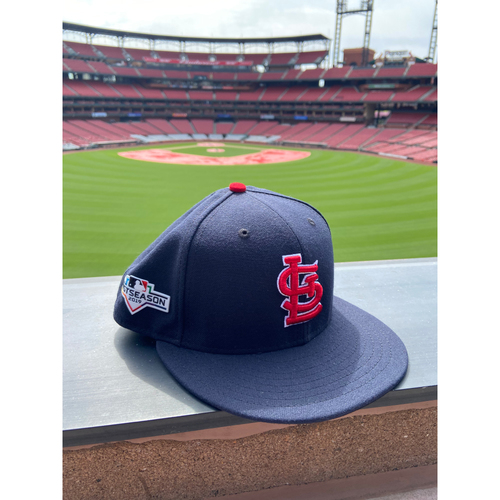 Photo of Cardinals Authentics: Team Issued Blank Postseason Navy STL Cap - Choose your size!