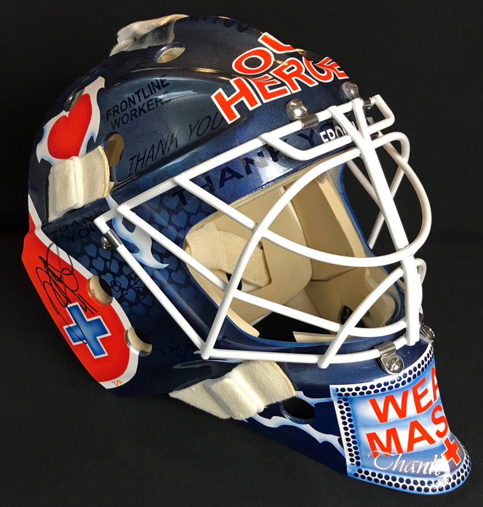 Original One Of A Kind Fan-Designed Edmonton Oilers Goalie Mask Autographed By Mike Smith