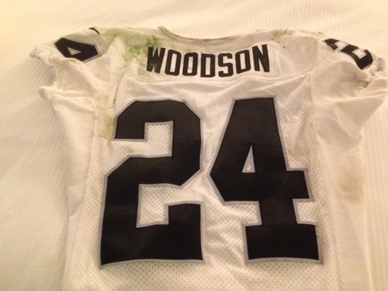 NFL Auction | CHARLES WOODSON GAME WORN RAIDERS JERSEY 11/16/2014