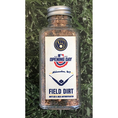 Photo of Game-Used Bottled Dirt - CHW@MIL - 08/03/20 - Brewers Home Opener