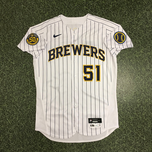 Photo of Freddy Peralta 2020 Team-Issued Home Pinstripe Jersey