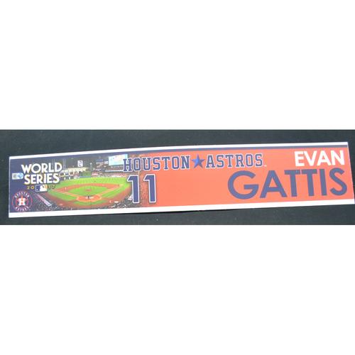 Photo of Game-Used Locker Name Plate - 2017 World Series Game 3 - Houston Astros vs. Los Angeles Dodgers - Evan Gattis (Houston Astros)