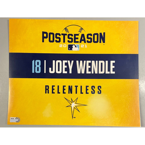 Photo of Game Used ALDS Locker Tag: Joey Wendle - Game 1 & 2 - October 7-8, 2021 v BOS
