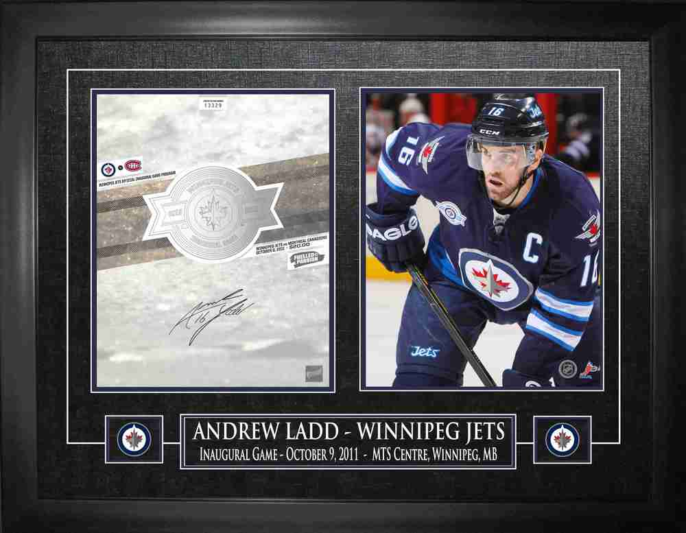 Andrew Ladd - Signed & Framed Program & Photo - Winnipeg Jets Inaugural Game