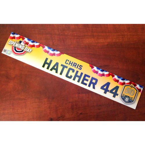 Photo of Chris Hatcher Game-Used Opening Day 2018 Locker Nameplate