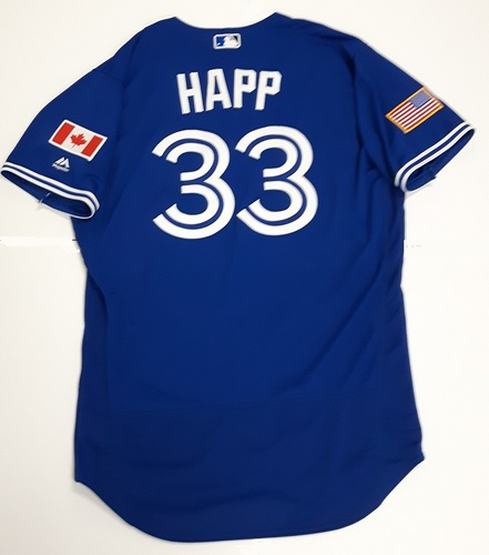 Photo of Authenticated Game Used 2018 Independence Day Jersey (July 4, 2018) - #33 J.A. Happ. Size 46.