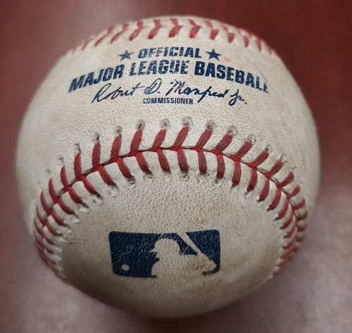 Photo of Authenticated Game Used Canada Day Baseball - Walk to Vladimir Guerrero Jr, Double by Lourdes Gurriel Jr, 2 RBI Double (5) by Cavan Biggio against Glenn Sparkman (July 1, 19). Bottom 2
