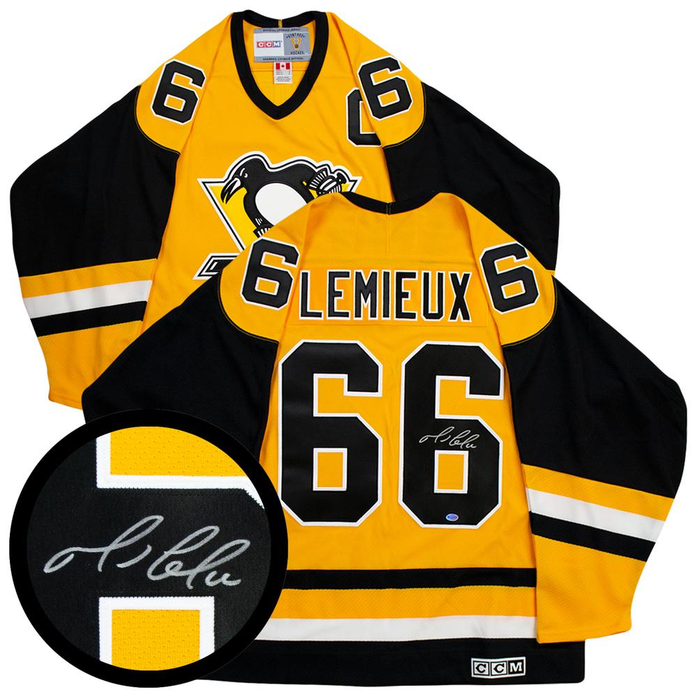 Lemieux,M Signed Jersey Penguins Replica Black/Vegas Gold 2003 Vintage CCM