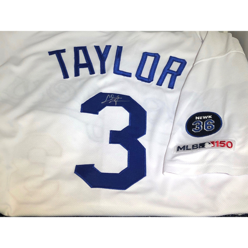 Photo of Chris Taylor Authentic Autographed Los Angeles Dodgers Jersey - Newcombe Patch