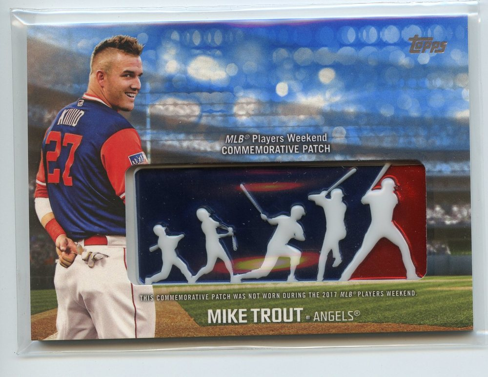2018 Topps Players Weekend Patches Blue #PWPMT Mike Trout 17/99