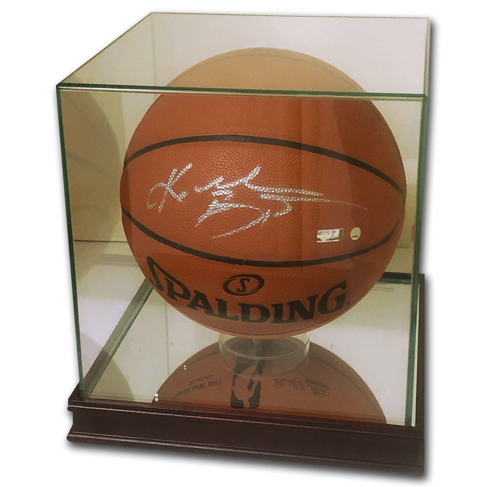 Kobe Bryant Autographed Spalding Basketball w/Glass Display Case